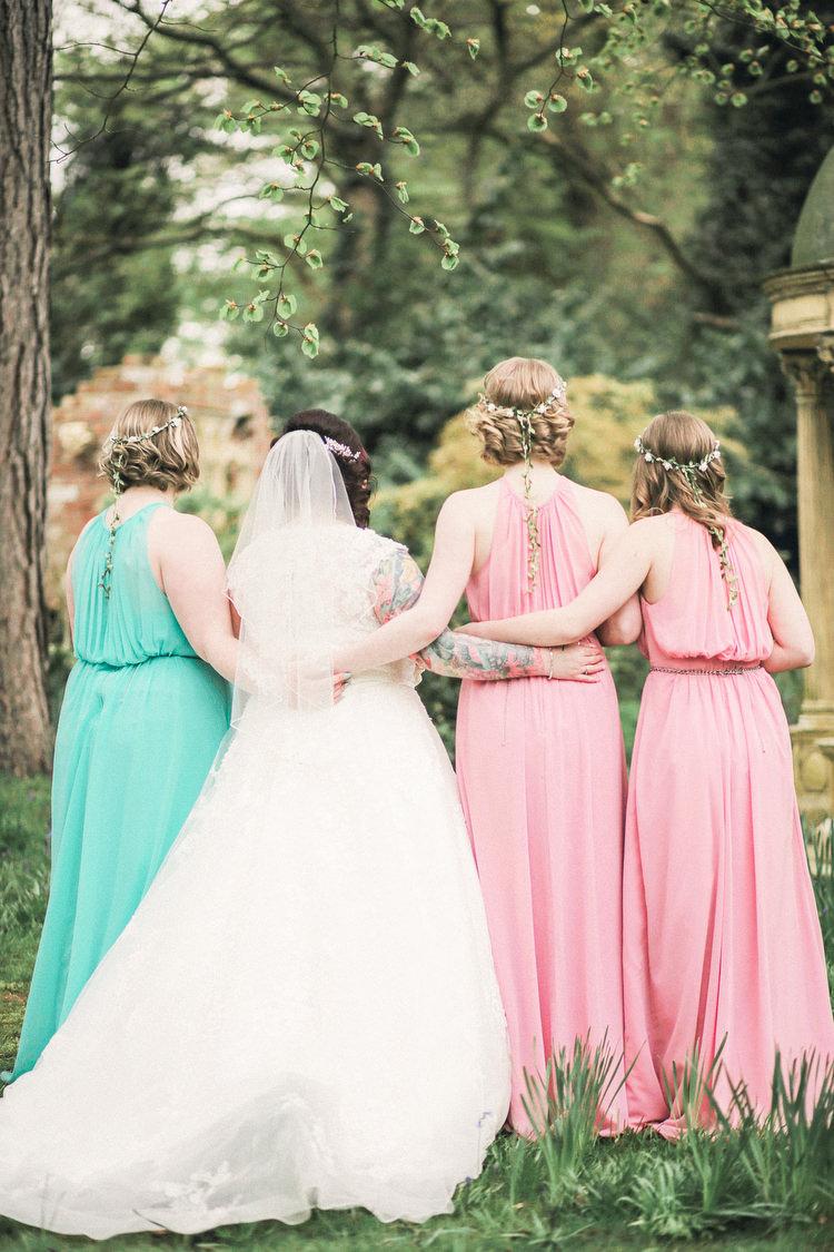 Mint Pink Bridesmaid Dresses Rustic Secret Garden Wedding http://helenrussellphotography.co.uk/
