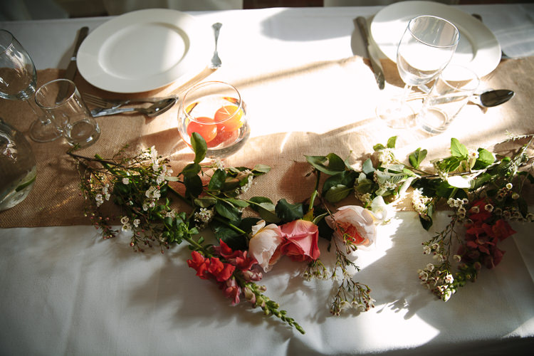 Flowers Table Orange Peach Coral Intimate Simple Country Barn Wedding http://joannabrownphotography.com/