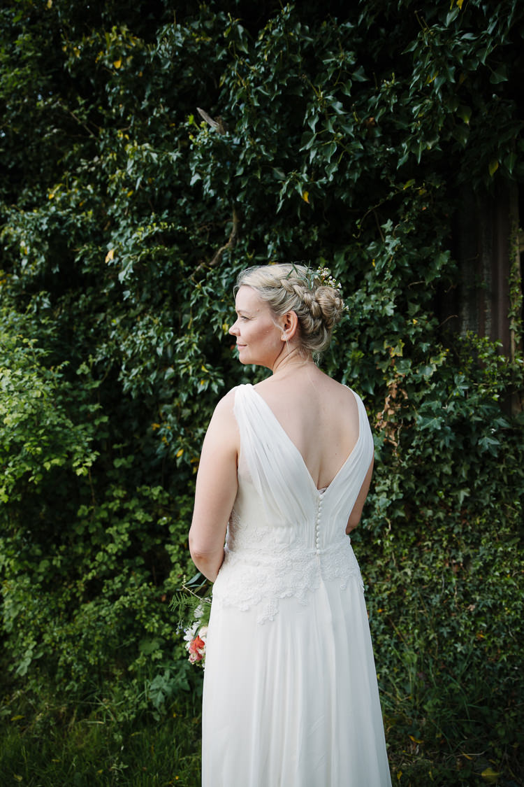 Low V Back Dress Gown Bride Bridal Intimate Simple Country Barn Wedding http://joannabrownphotography.com/