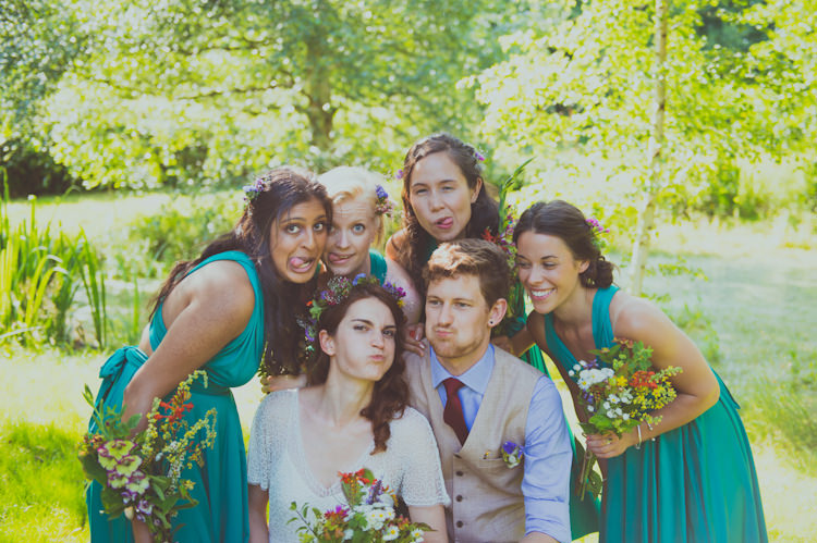 Emerald Green Multi Way Bridesmaid Dresses Colourful Woodland Humanist Wedding http://sashaweddings.co.uk/