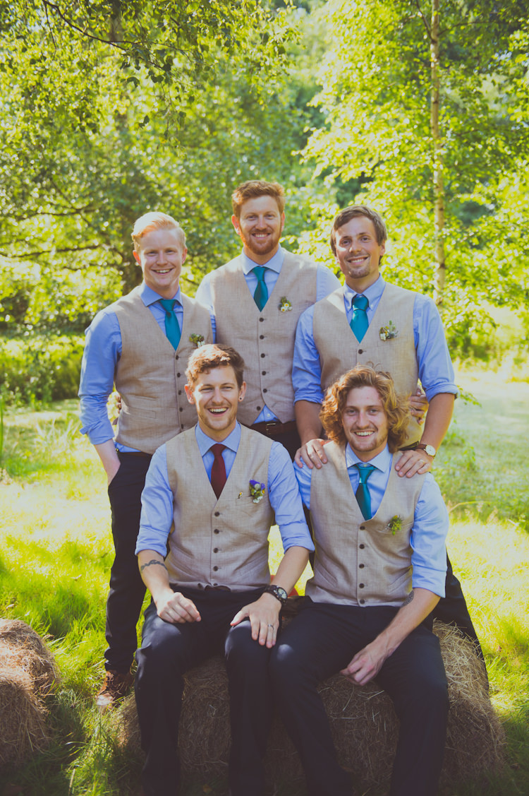 Waistcoat Groomsmen Chinos Groom Colourful Woodland Humanist Wedding http://sashaweddings.co.uk/