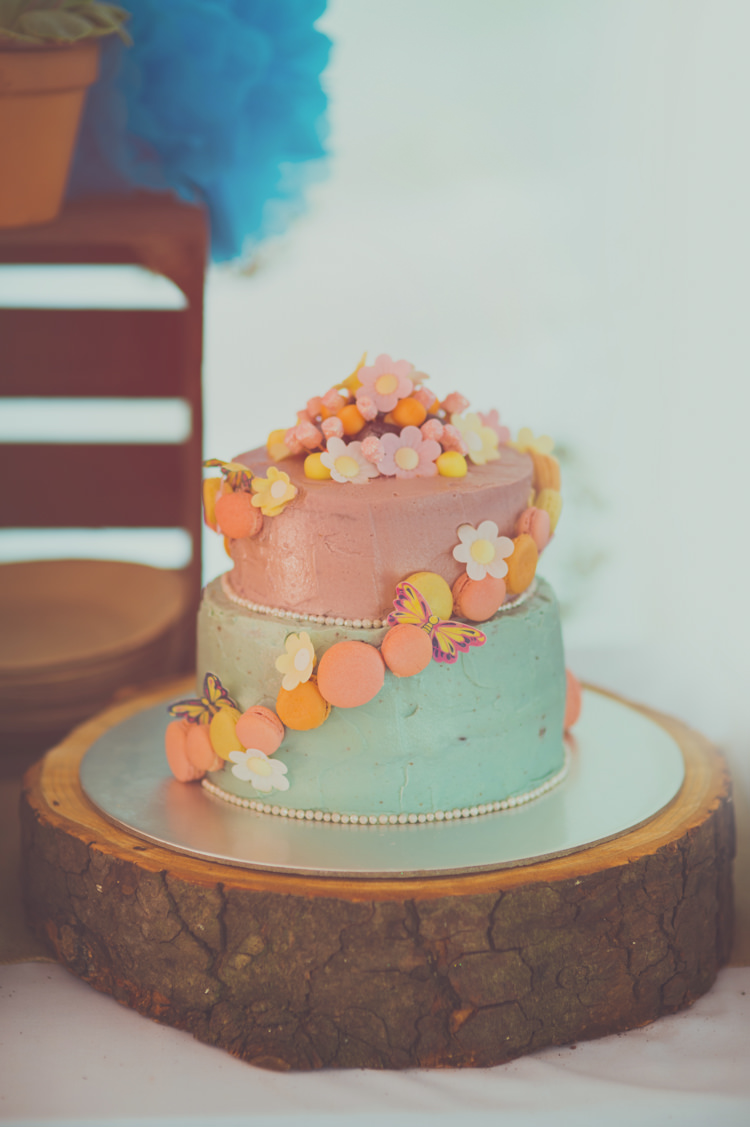 Buttercream Pastel Macaron Cake Log Colourful Woodland Humanist Wedding http://sashaweddings.co.uk/