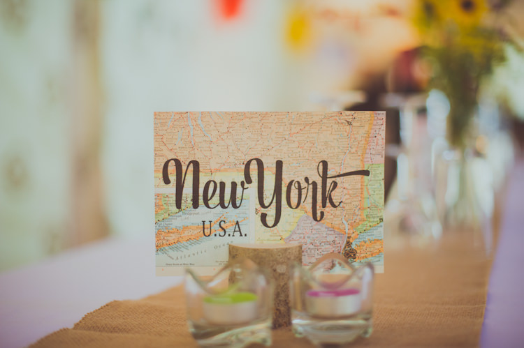 Travel Place Names Tables Colourful Woodland Humanist Wedding http://sashaweddings.co.uk/