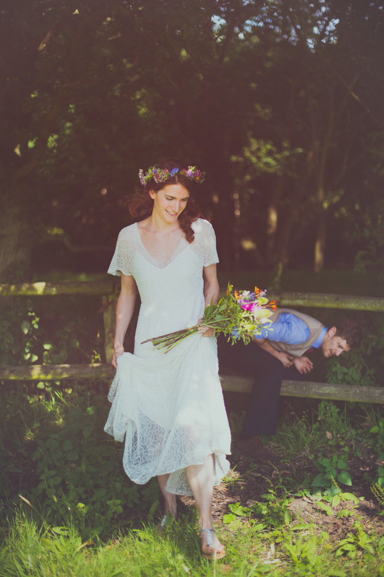 J Crew Dress Bride Bridal Boho Sleeves Gown Colourful Woodland Humanist Wedding http://sashaweddings.co.uk/