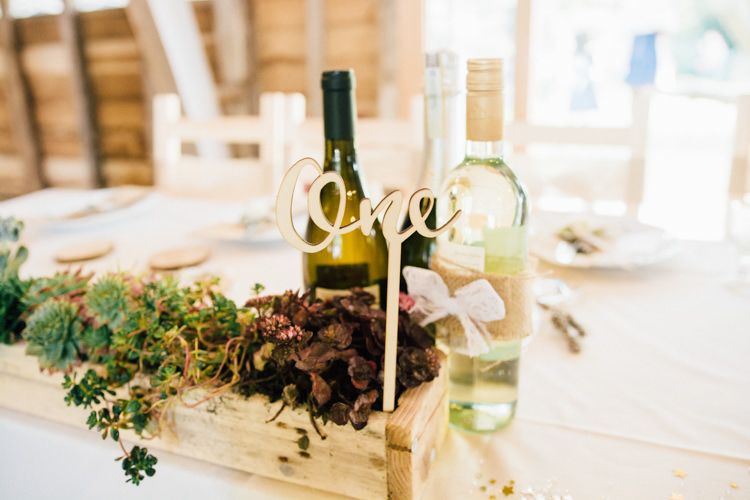 Wooden Table Numbers Succulent Box Flowers Home Made Rustic Barn Wedding http://www.sarahfleetphotography.com/