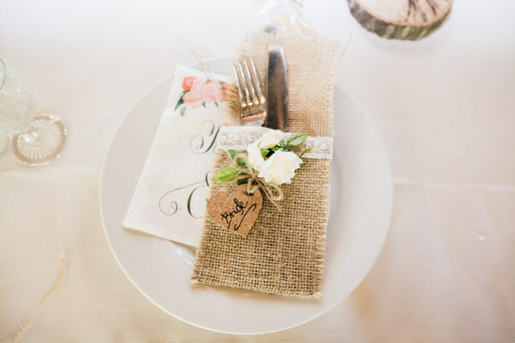 Hessian Burlap Lace Place Setting Heart Name Home Made Rustic Barn Wedding http://www.sarahfleetphotography.com/
