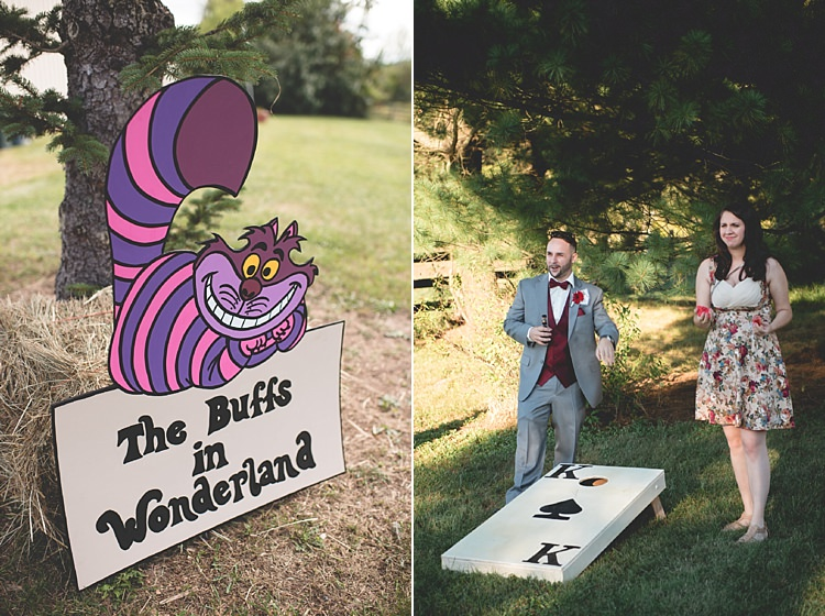 Ceremony Décor Cheshire Cat Cartoon Sign Guests Outdoor Games Alice in Wonderland Wedding Pennsylvania http://www.julieflorophotography.com/