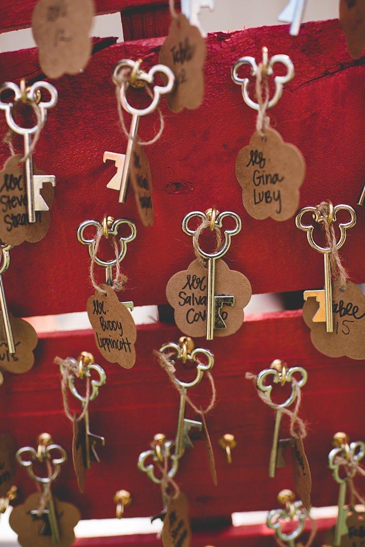 Disney Keys Cardboard Name Tags Décor Alice in Wonderland Wedding Pennsylvania http://www.julieflorophotography.com/