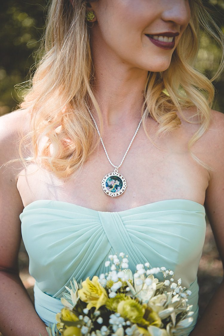 Bridesmaid Pale Blue Dress Custom Made Charm Necklace Floral Earrings White Yellow Bouquet Alice in Wonderland Wedding Pennsylvania http://www.julieflorophotography.com/