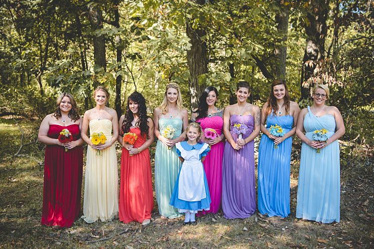 Bridesmaids Multicoloured Dresses Gerbera Bouquets Flower Girl Alice Costume Alice in Wonderland Wedding Pennsylvania http://www.julieflorophotography.com/