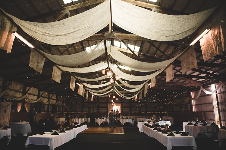 Reception Hanging Décor Fairylights Rustic Black White Table Settings Alice in Wonderland Wedding Pennsylvania http://www.julieflorophotography.com/