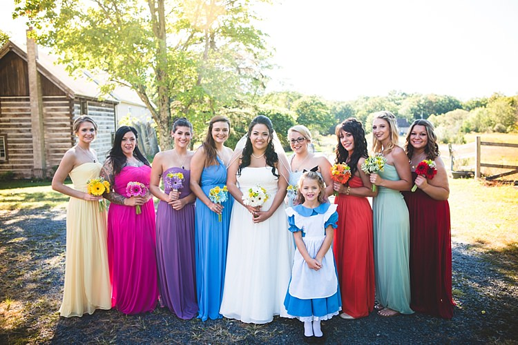 Bride Strapless Gown With Train Veil Bridesmaids Multicoloured Dresses Bouquets Multicoloured Gerberas Flowergirl Alice Costume Alice in Wonderland Wedding Pennsylvania http://www.julieflorophotography.com/