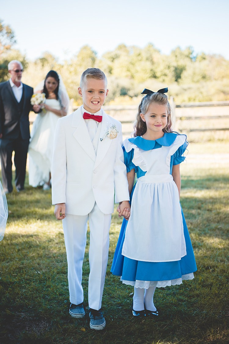 Flowergirl Alice Costume Black Bow Pageboy White Suit Red Bowtie Entrance Bride Father Alice in Wonderland Wedding Pennsylvania http://www.julieflorophotography.com/