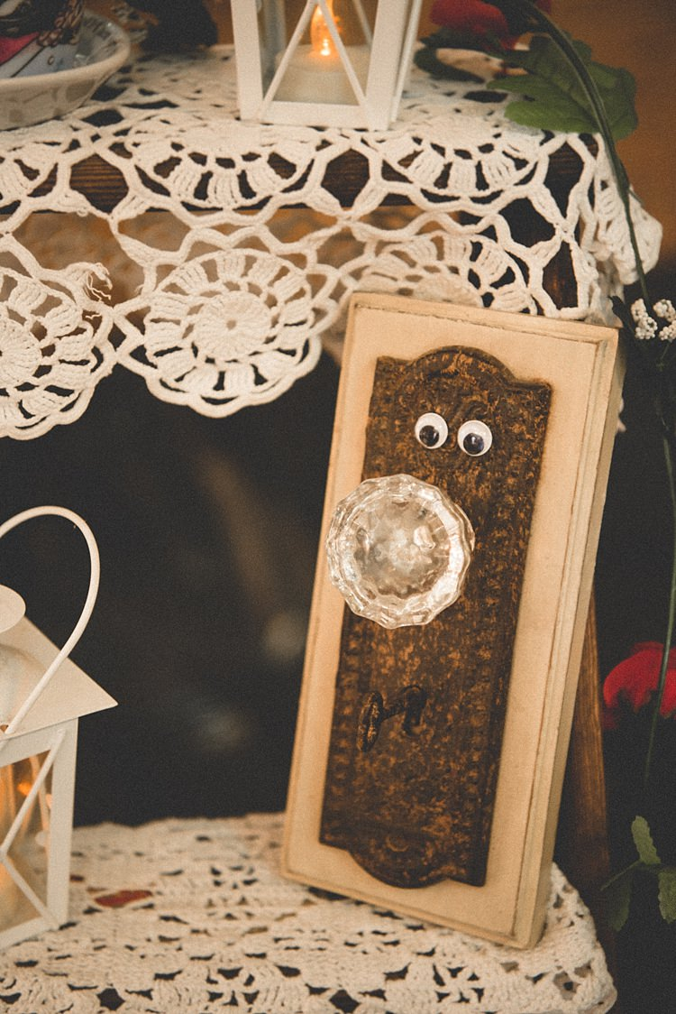 Reception Décor DIY Fancy Doorknob White Lanterns Vintage Tablecloths Alice in Wonderland Wedding Pennsylvania http://www.julieflorophotography.com/