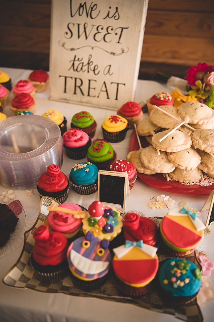 Reception Dessert Table Themed Cupcakes Treats Pies Mini Blackboard Signs Wooden Quote Board Alice in Wonderland Wedding Pennsylvania http://www.julieflorophotography.com/