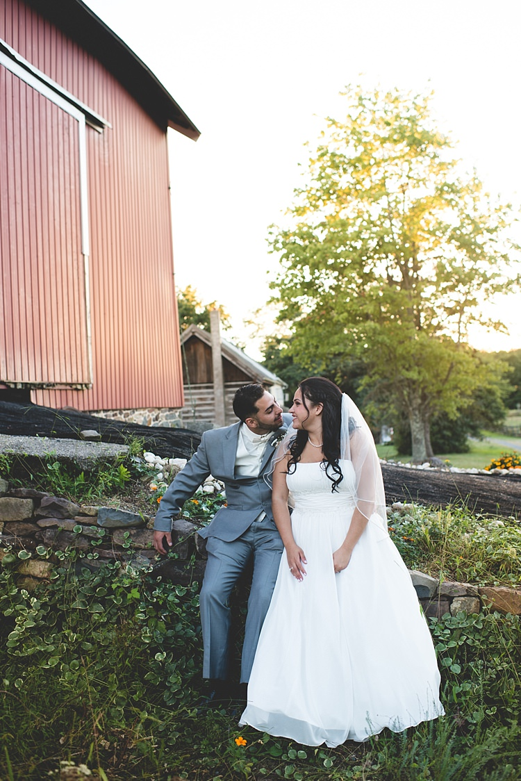 Bride Strapless Gown With Train Veil Groom Grey Suit White Bowtie Rock Wall Barn Trees Greenery Alice in Wonderland Wedding Pennsylvania http://www.julieflorophotography.com/