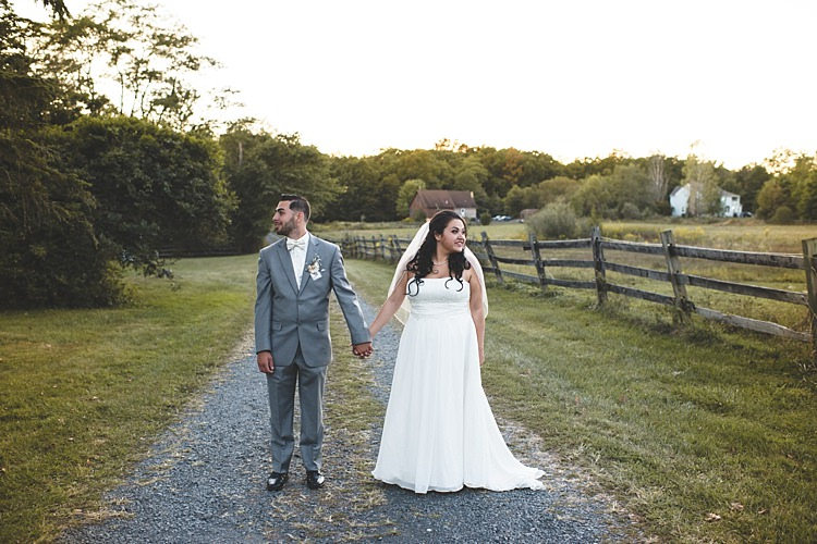 Bride Strapless Gown With Train Veil Groom Grey Suit White Bowtie Gravel Road Trees Wooden Fence Alice in Wonderland Wedding Pennsylvania http://www.julieflorophotography.com/