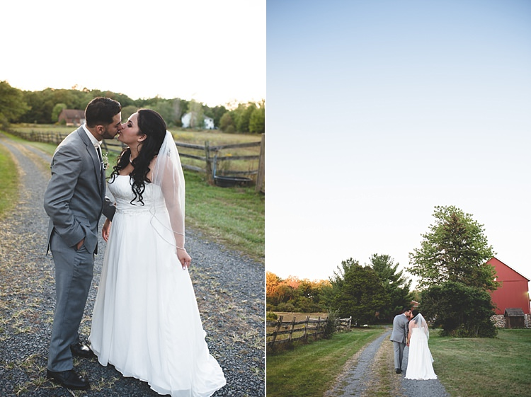 Bride Strapless Gown With Train Veil Groom Grey Suit White Bowtie Kiss Gravel Road Wooden Fence Trees Barn Alice in Wonderland Wedding Pennsylvania http://www.julieflorophotography.com/