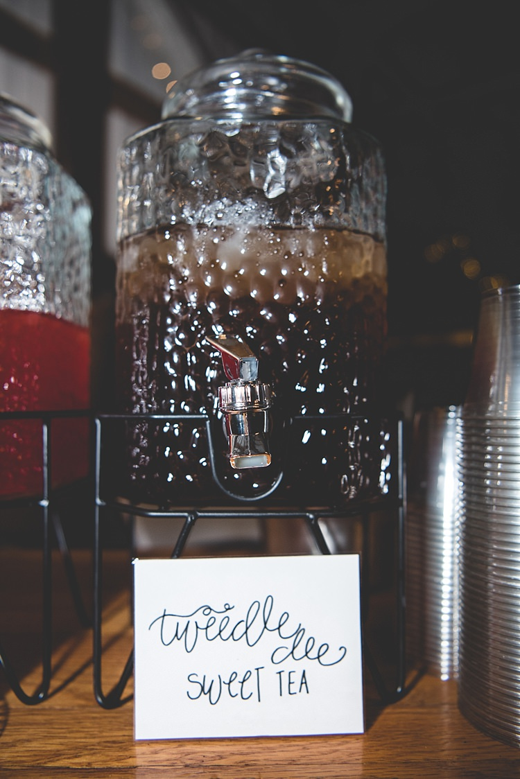 Reception Glass Beverage Dispenser Handwritten Sign Alice in Wonderland Wedding Pennsylvania http://www.julieflorophotography.com/