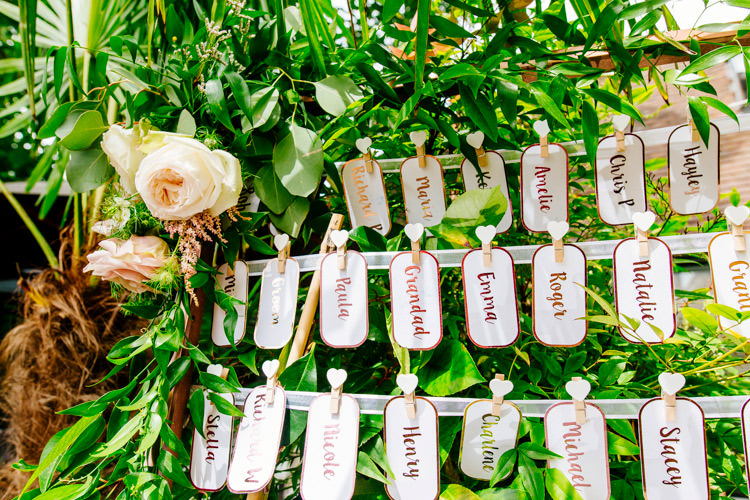 Seating Plan Table Chart Luggage Tag Peg Frame Fresh Relaxed Romantic Pink Green Pub Wedding http://www.els-photography.com/