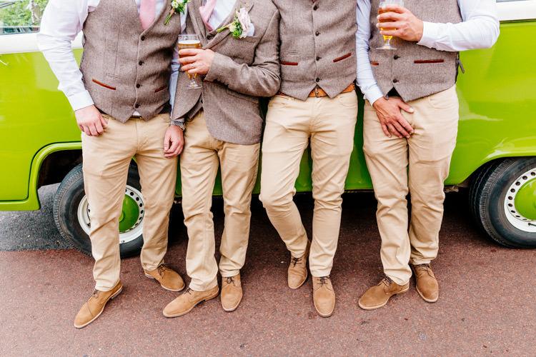 Groomsmen Chinos Waistcoats Fresh Relaxed Romantic Pink Green Pub Wedding http://www.els-photography.com/