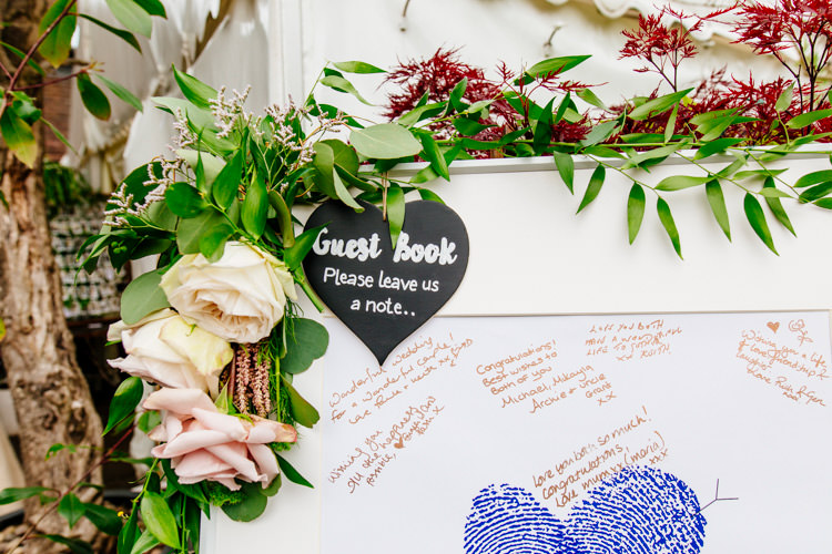 Flower Frame Guest Book Fresh Relaxed Romantic Pink Green Pub Wedding http://www.els-photography.com/