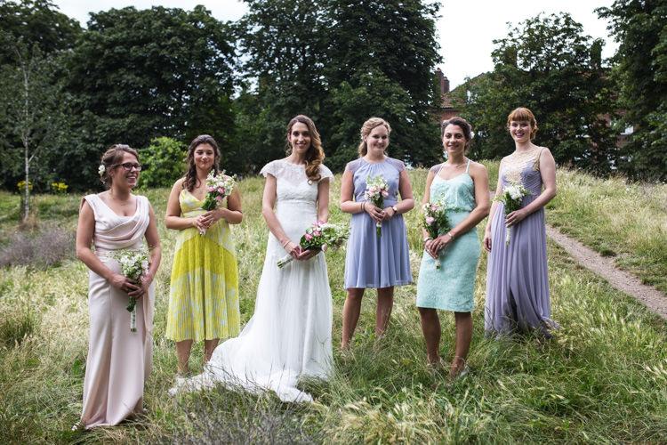Pastel Bridesmaid Dresses Mismatched London Pub Wedding http://www.olliverphotography.com/