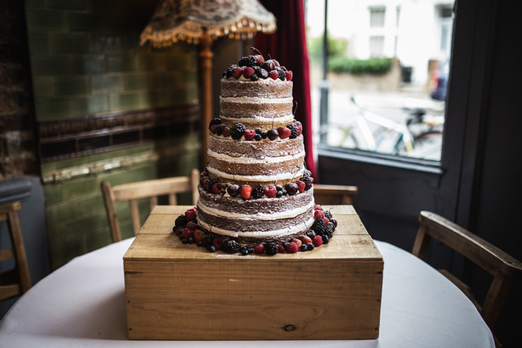Naked Cake Layer Sponge Berries Mismatched London Pub Wedding http://www.olliverphotography.com/