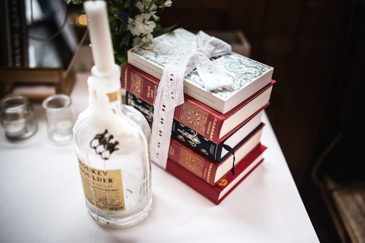Books Decor Mismatched London Pub Wedding http://www.olliverphotography.com/