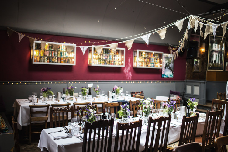 Bunting Fairy Lights Mismatched London Pub Wedding http://www.olliverphotography.com/