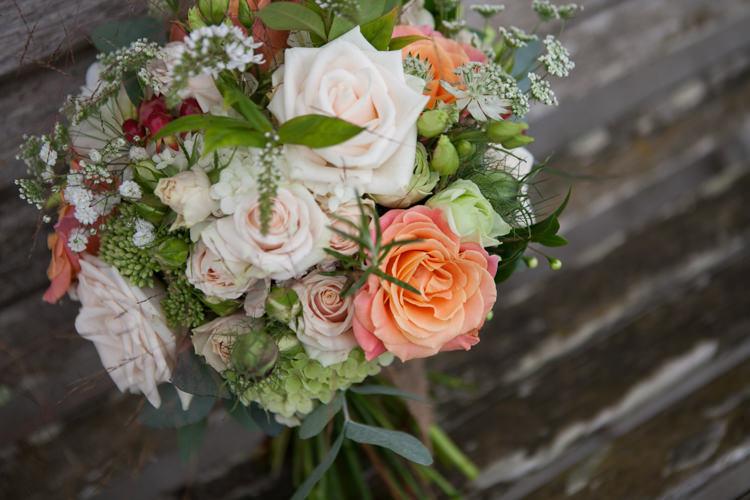 Coral Rose Bouquet Rustic Outdoor Rural Tipi Wedding http://emmastonerweddings.com/