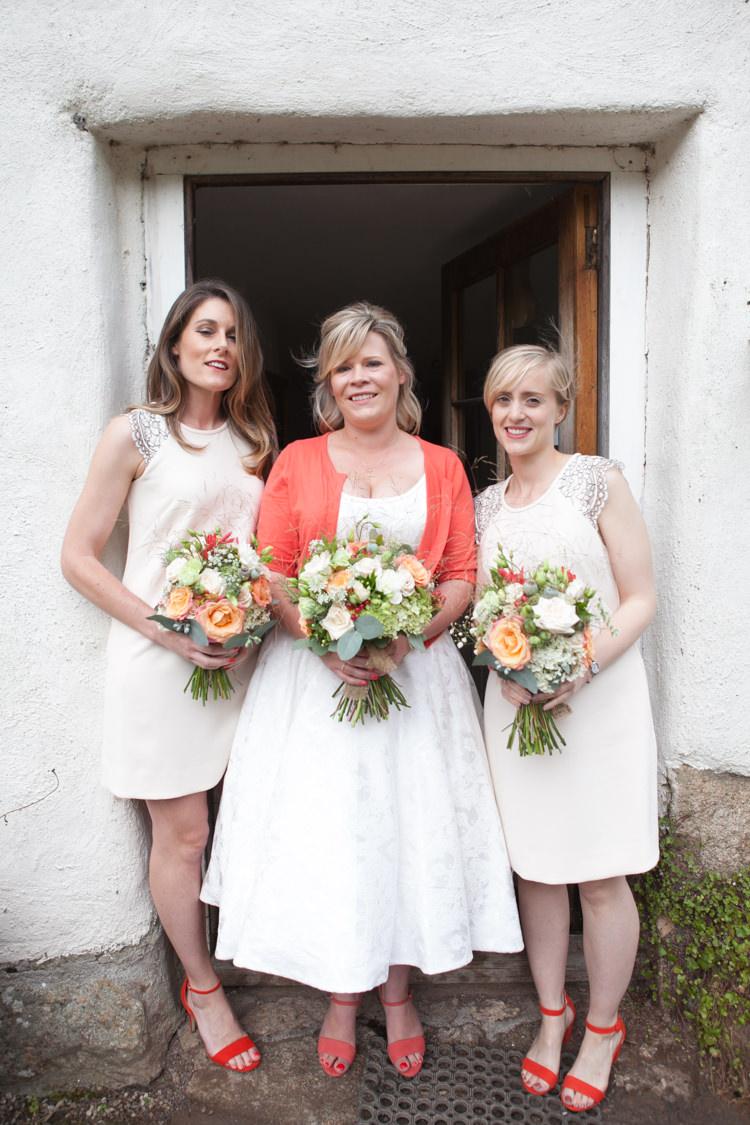 White Bridesmaid Dresses Short Shift Orange Shoes Rustic Outdoor Rural Tipi Wedding http://emmastonerweddings.com/