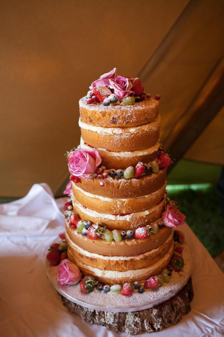 Naked Cake Sponge Layer Fruit Berries Log Stand Rustic Outdoor Rural Tipi Wedding http://emmastonerweddings.com/