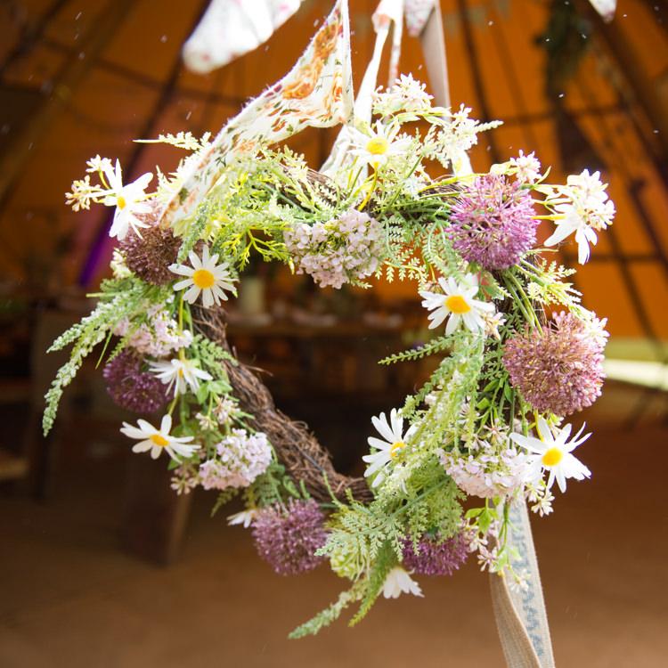 Heart Wreath Flowers Rustic Outdoor Rural Tipi Wedding http://emmastonerweddings.com/