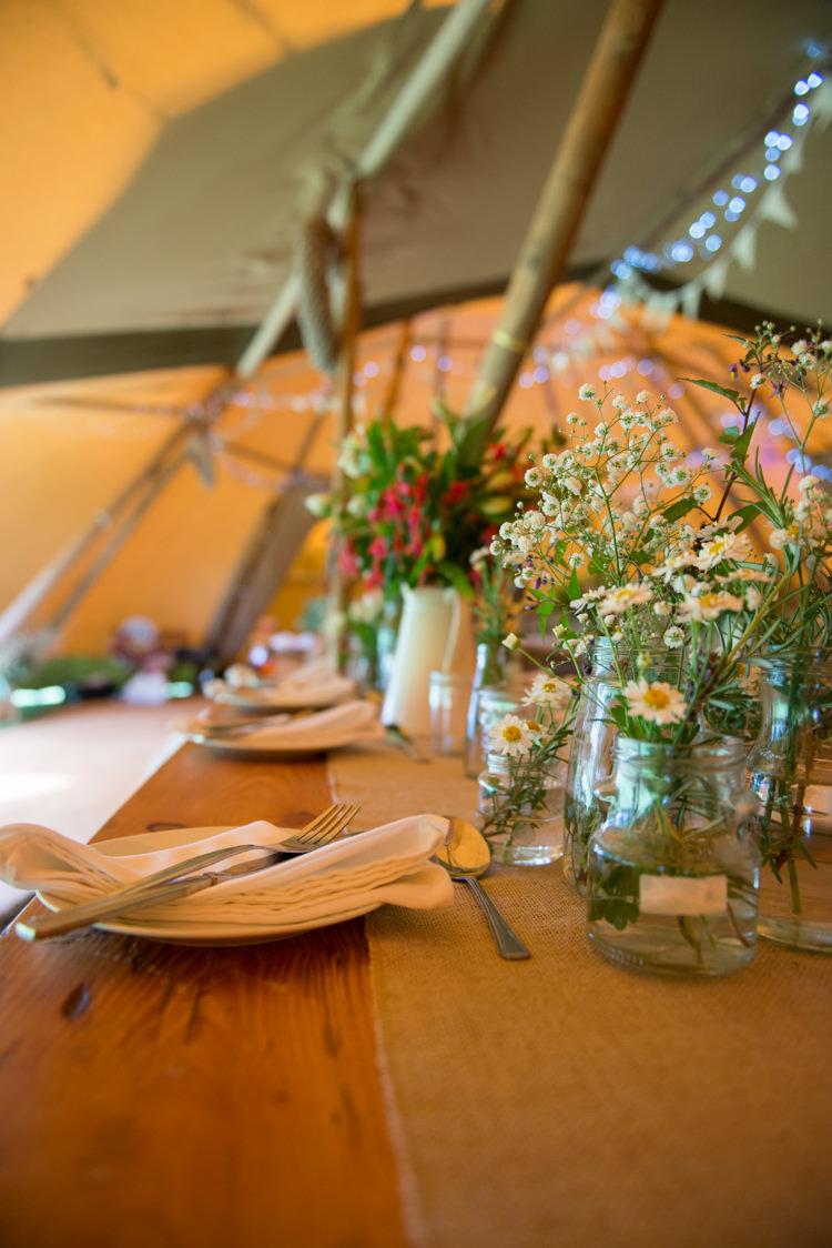 Wild Natural Jar Flowers Decor Centrepiece Tables Rustic Outdoor Rural Tipi Wedding http://emmastonerweddings.com/