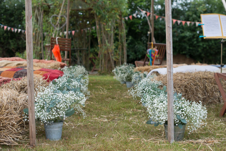 Ceremony Aisle Gyp Gypsophila Buckets Rustic Outdoor Rural Tipi Wedding http://emmastonerweddings.com/