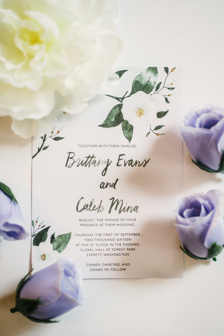 Wedding Invitation Stationery Floral Design Calligraphy Fresh Flowers White Purple Magical Fairytale Forest Wedding Washington http://karissaroe.com/