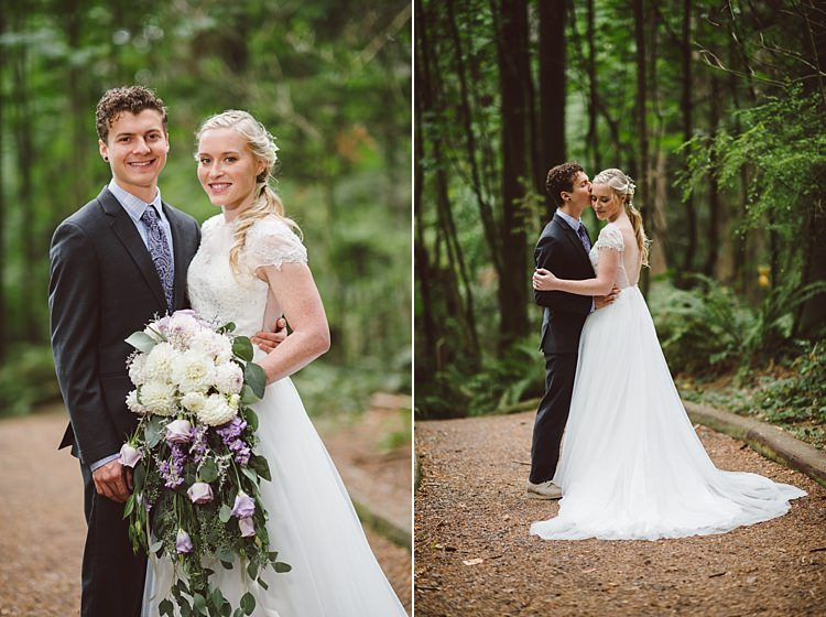Bride Cap Sleeve Backless Tulle Bridal Gown Bouquet White Purple Chrysanthemum Roses Groom Charcoal Suit Patterned Purple Tie Toms Shoes Magical Fairytale Forest Wedding Washington http://karissaroe.com/