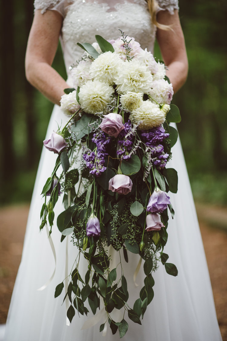 Bride Cap Sleeve Backless Tulle Bridal Gown Cascading Bouquet White Purple Roses Chrysanthemums Florals Magical Fairytale Forest Wedding Washington http://karissaroe.com/