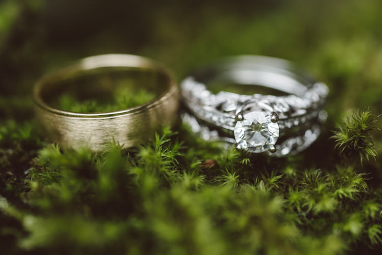 Gold Wedding Band Diamond Engagement Wedding Ring Greenery Magical Fairytale Forest Wedding Washington http://karissaroe.com/