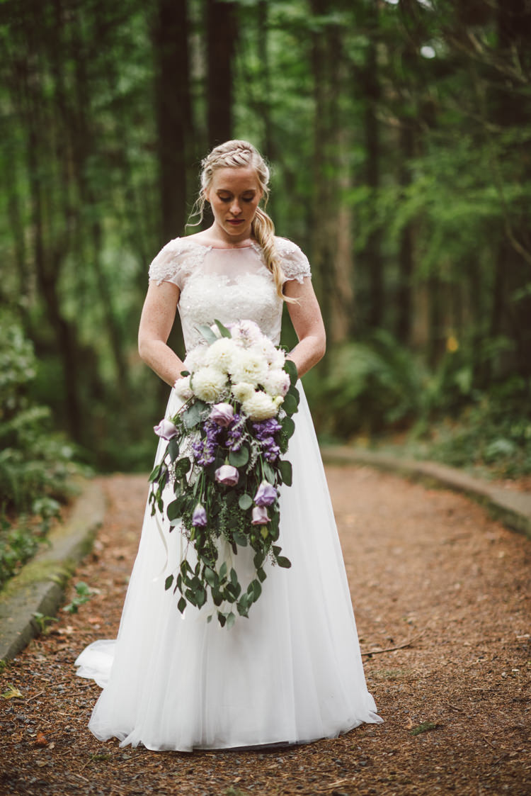 Bride Cap Sleeve Backless Tulle Bridal Gown Cascading Bouquet White Purple Chrysanthemum Roses Florals Braid Curly Ponytail Hairstyle Magical Fairytale Forest Wedding Washington http://karissaroe.com/