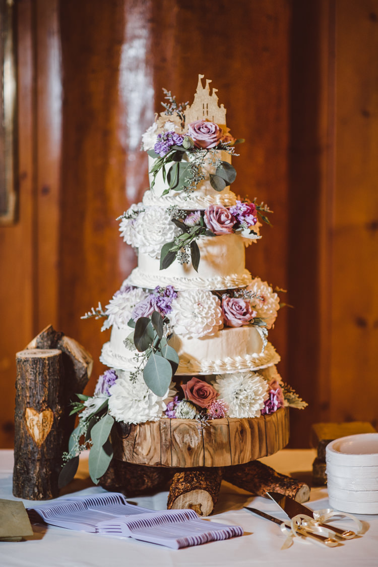 Tiered Wedding Cake Fresh White Purple Chrysanthemums Roses Florals Wooden Tree Trunk Stand Magical Fairytale Forest Wedding Washington http://karissaroe.com/