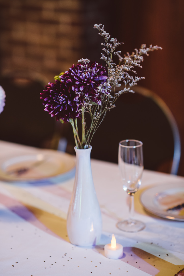 Reception Table Setting White Vase Fresh Purple Florals Magical Fairytale Forest Wedding Washington http://karissaroe.com/