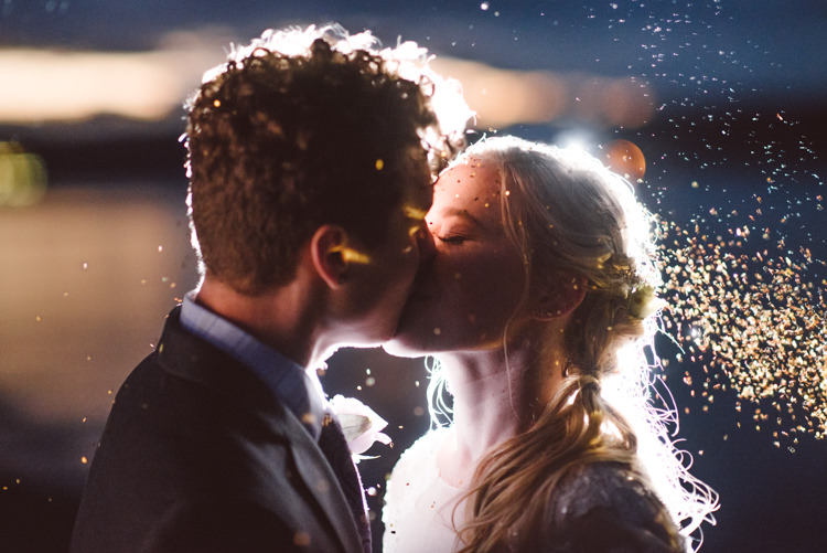 Bride Groom Kiss Glitter Sunset Cloudy Sky Magical Fairytale Forest Wedding Washington http://karissaroe.com/