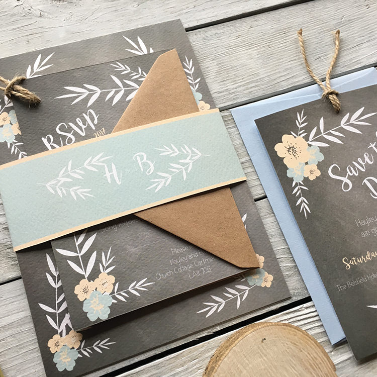 Pretty Wedding Stationery Invitations Lily and Jack's Paper Studio UK Floral Chalkboard