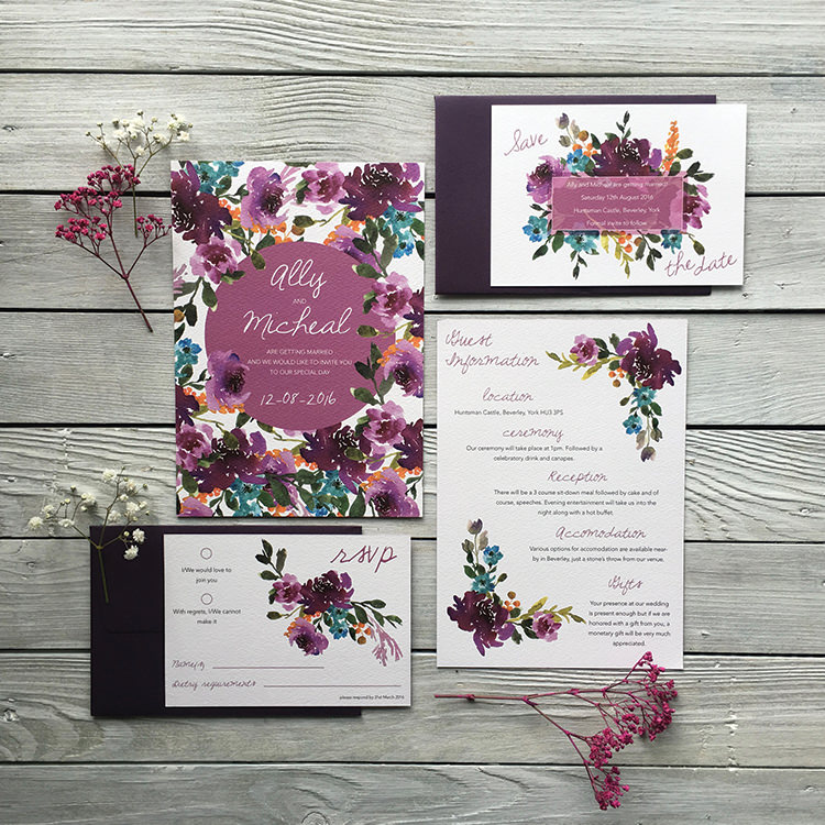 Pretty Wedding Stationery Invitations Lily and Jack's Paper Studio UK Burgundy Floral