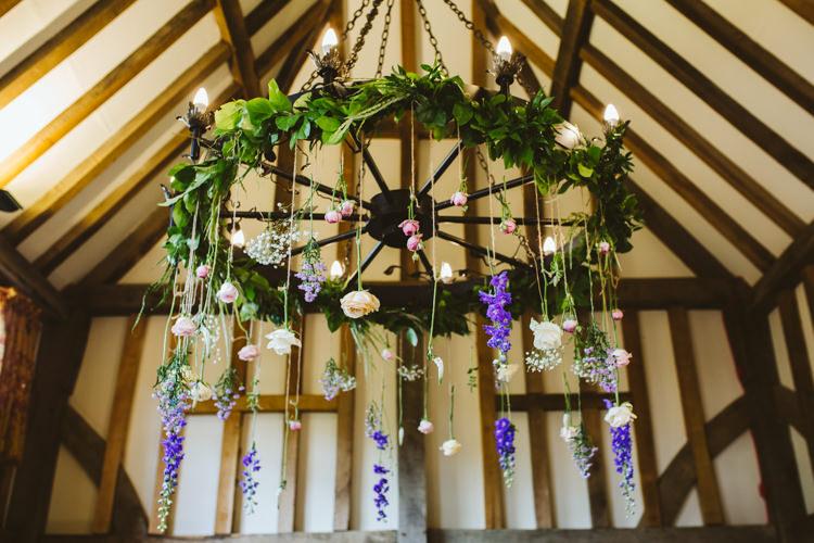Flower Chandeliers Hanging Pretty Festival Barn Countryside Wedding http://www.claretamim.co.uk/