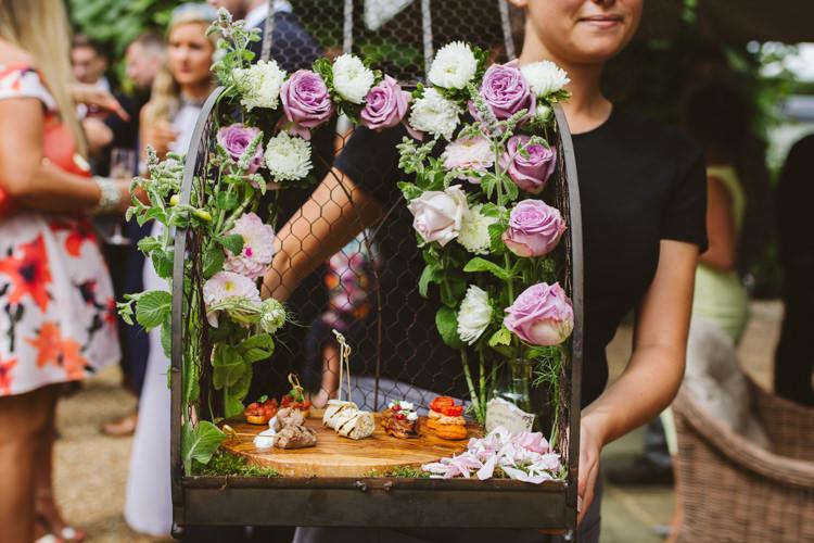 Canapes Flowers Kalm Kitchen Pretty Festival Barn Countryside Wedding http://www.claretamim.co.uk/