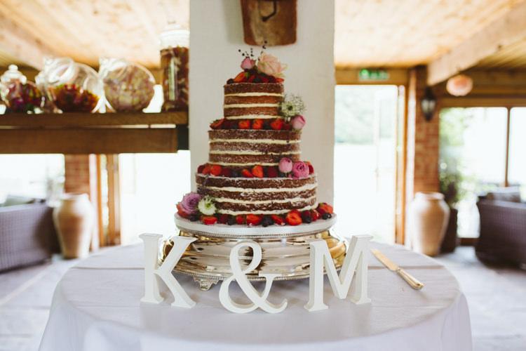 Naked Cake Layer Sponge Fruit Cream Pretty Festival Barn Countryside Wedding http://www.claretamim.co.uk/