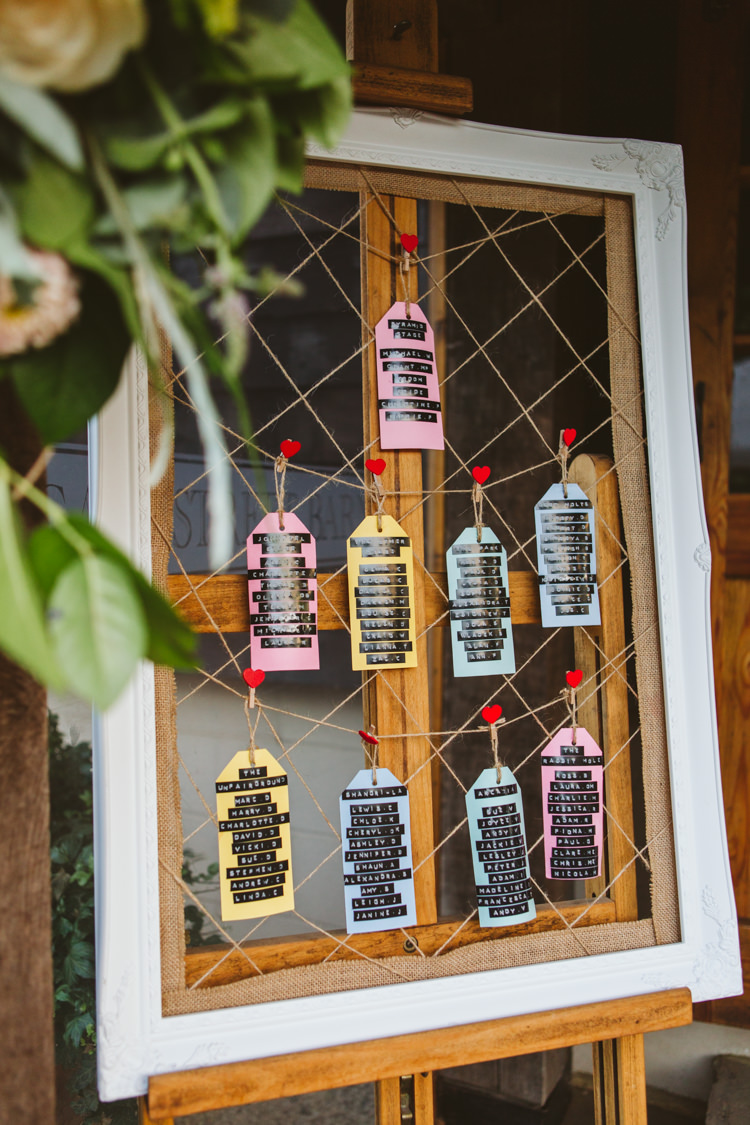 Window Luggage Tag Seating Chart Table Plan Pretty Festival Barn Countryside Wedding http://www.claretamim.co.uk/